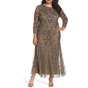 New Pissaro Nights Brown Embellished Mesh Gown 14P